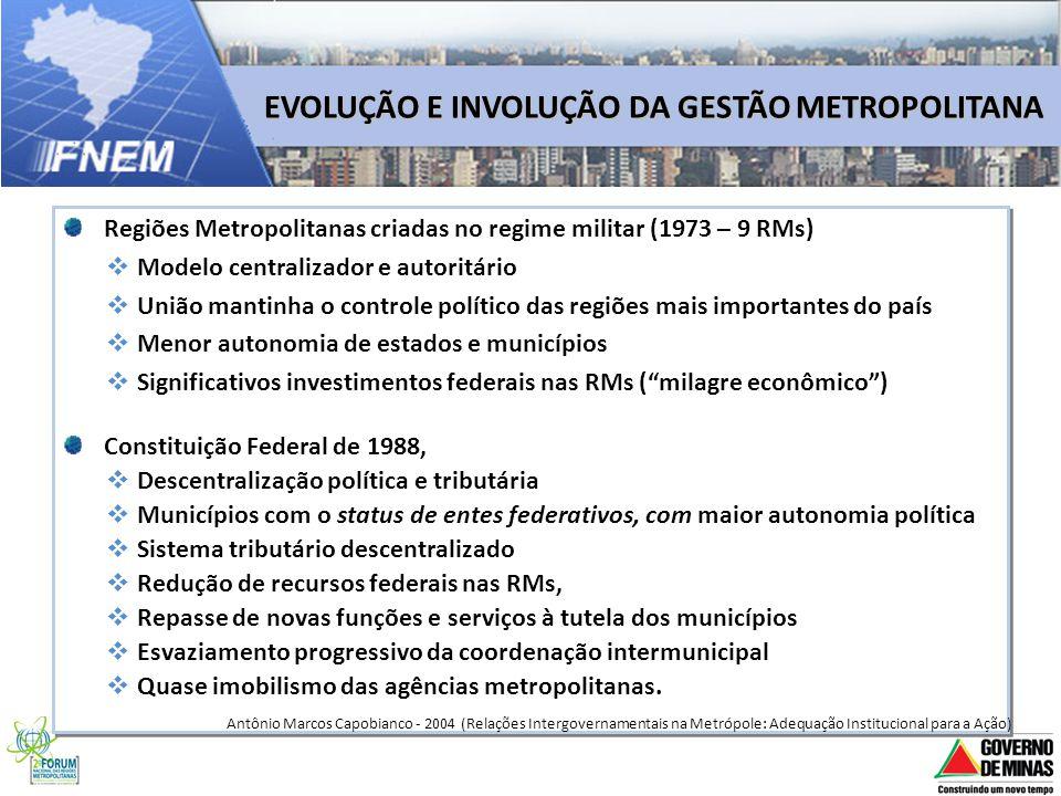 EVOLUÇÃO E INVOLUÇÃO DA GESTÃO METROPOLITANA