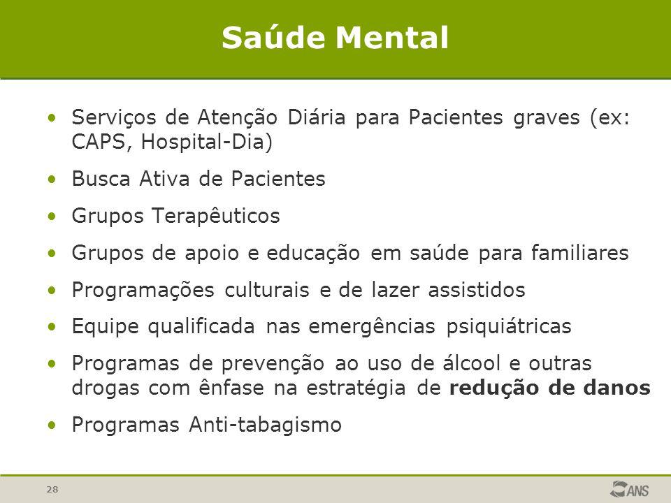 Saúde Mental Serviços de Atenção Diária para Pacientes graves (ex: CAPS, Hospital-Dia) Busca Ativa de Pacientes.