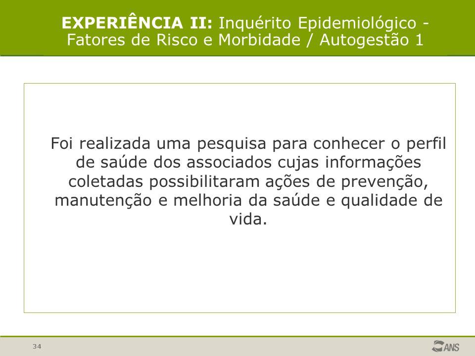 EXPERIÊNCIA II: Inquérito Epidemiológico - Fatores de Risco e Morbidade / Autogestão 1