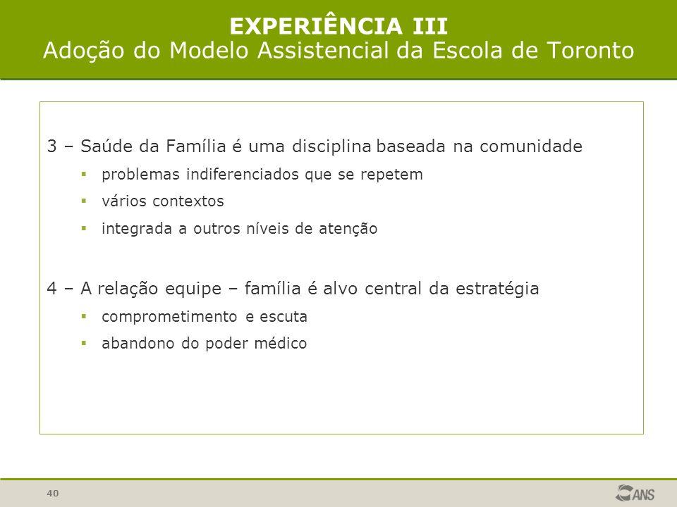 EXPERIÊNCIA III Adoção do Modelo Assistencial da Escola de Toronto