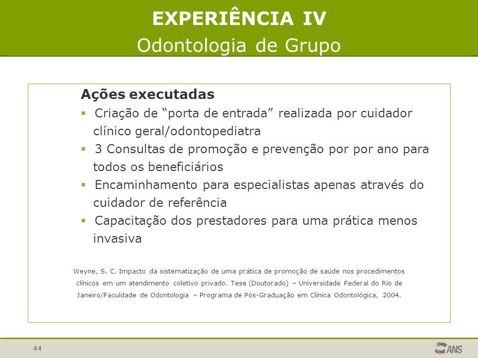 EXPERIÊNCIA IV Odontologia de Grupo