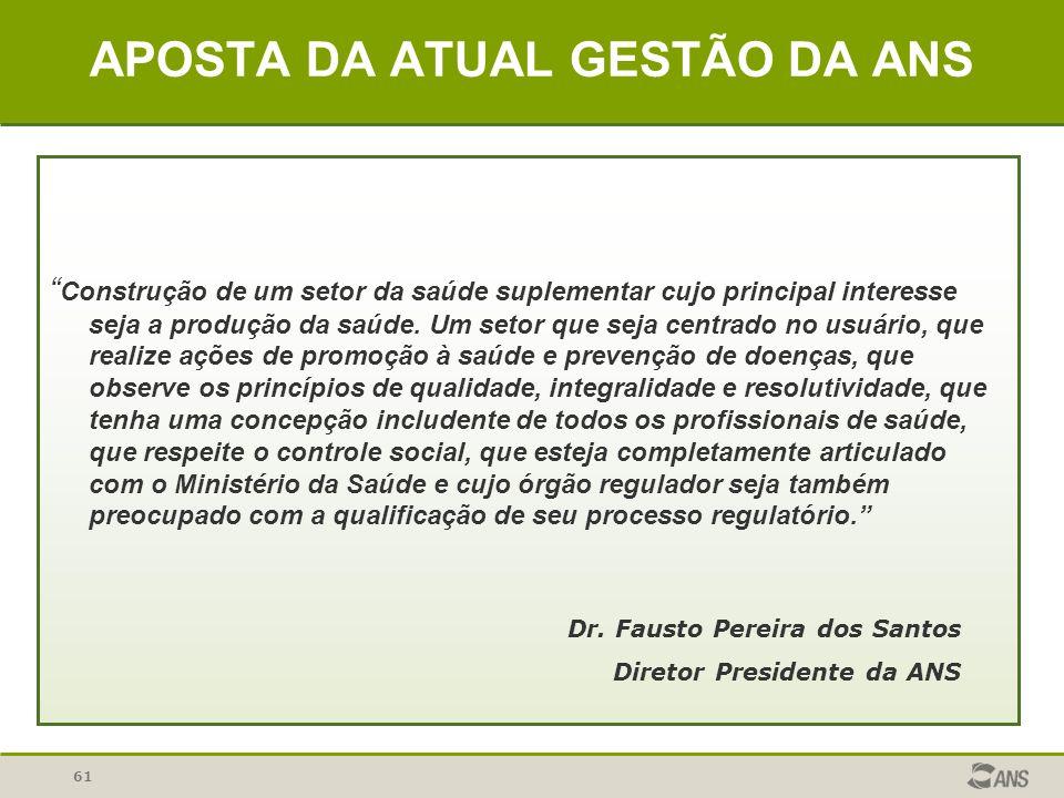 APOSTA DA ATUAL GESTÃO DA ANS