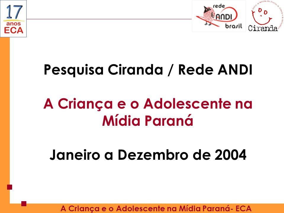 Pesquisa Ciranda / Rede ANDI A Criança e o Adolescente na Mídia Paraná
