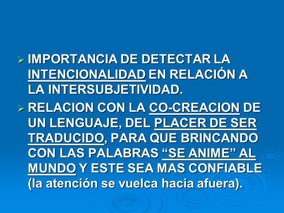 IMPORTANCIA DE DETECTAR LA INTENCIONALIDAD EN RELACIÓN A LA INTERSUBJETIVIDAD.