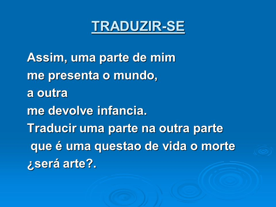 TRADUZIR-SE