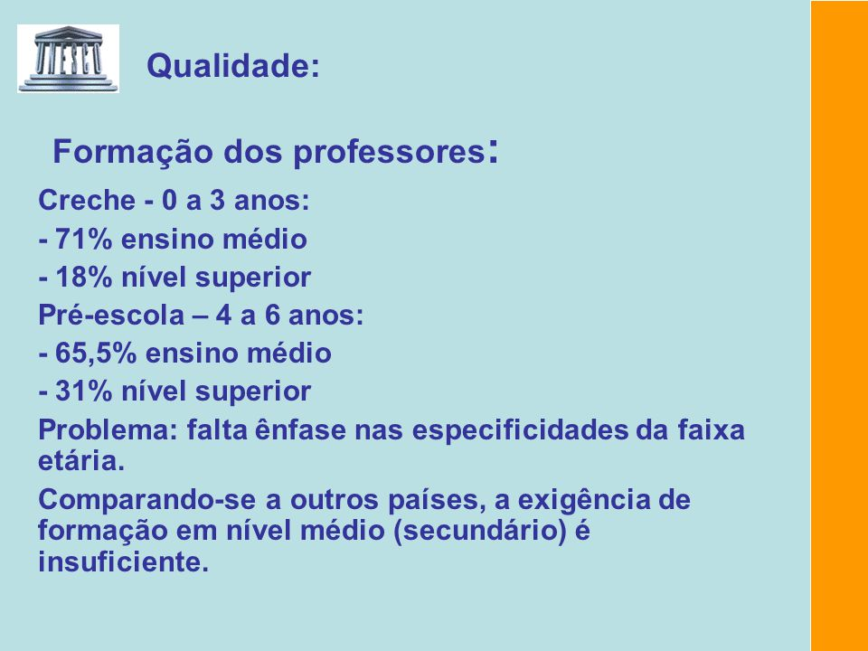 Formação dos professores: