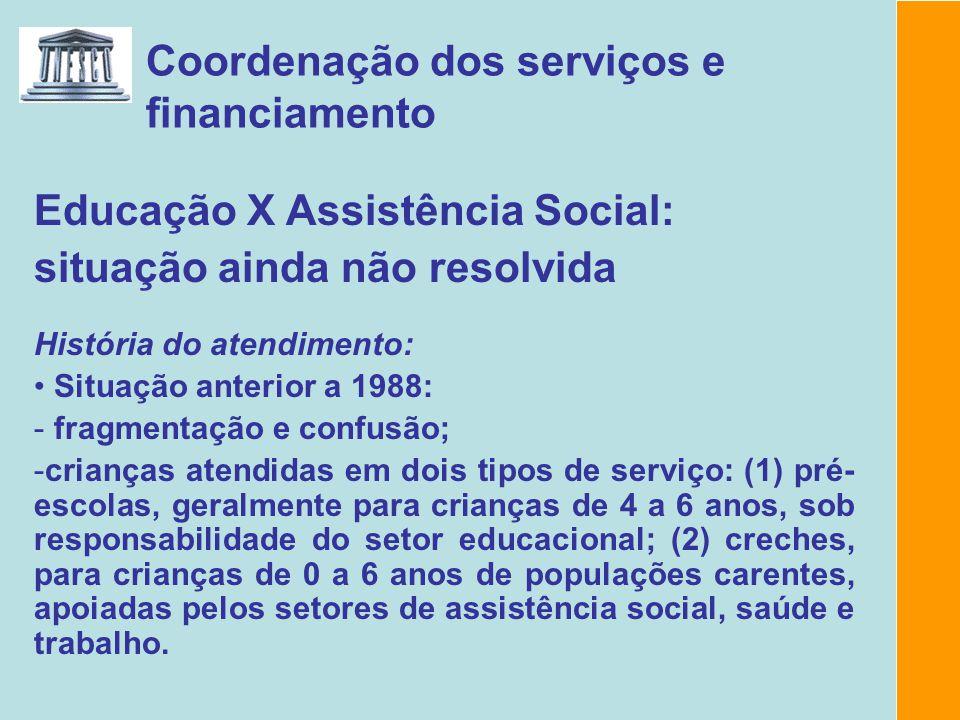 Coordenação dos serviços e financiamento