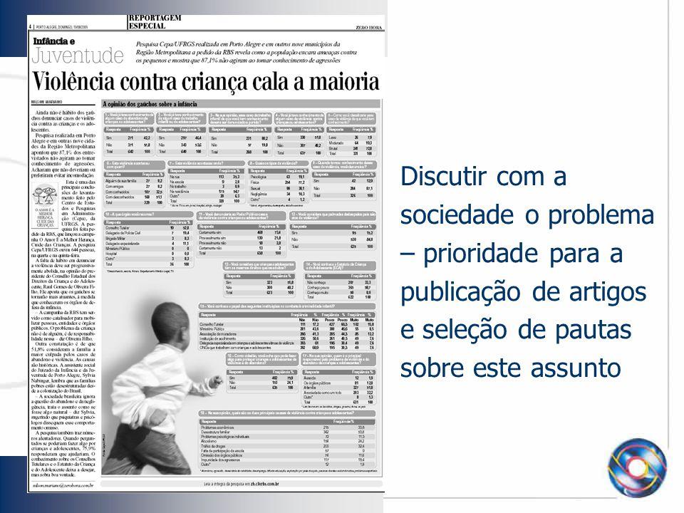Discutir com a sociedade o problema – prioridade para a publicação de artigos e seleção de pautas sobre este assunto