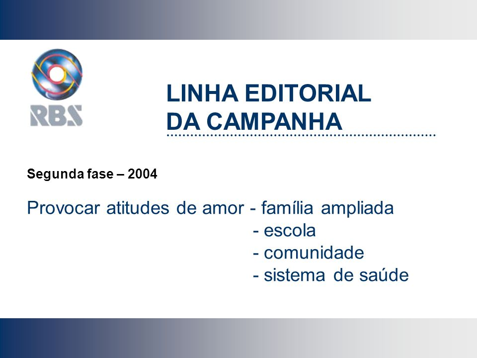 LINHA EDITORIAL DA CAMPANHA