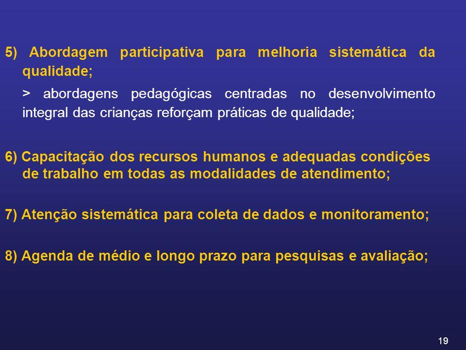 5) Abordagem participativa para melhoria sistemática da qualidade;