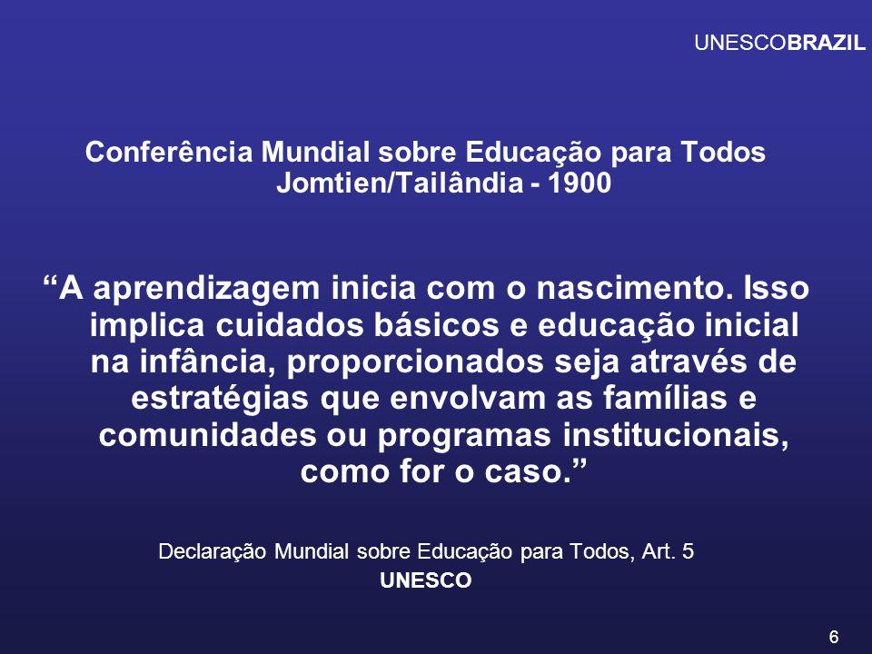 UNESCOBRAZIL Conferência Mundial sobre Educação para Todos Jomtien/Tailândia - 1900.