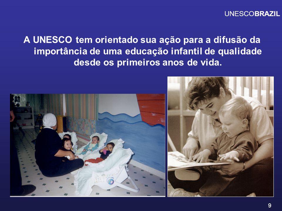 UNESCOBRAZIL A UNESCO tem orientado sua ação para a difusão da importância de uma educação infantil de qualidade desde os primeiros anos de vida.