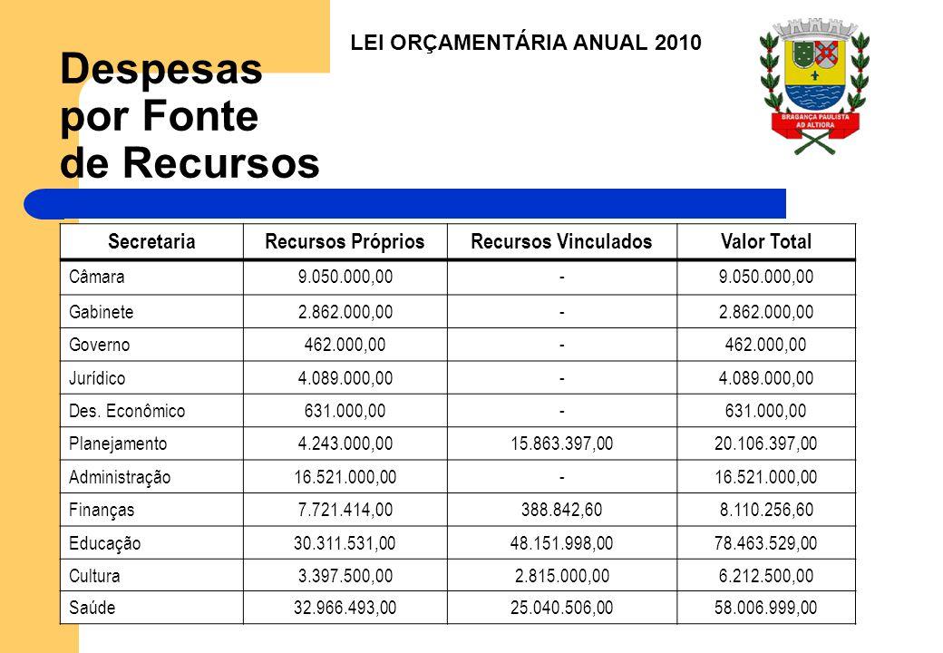 Despesas por Fonte de Recursos