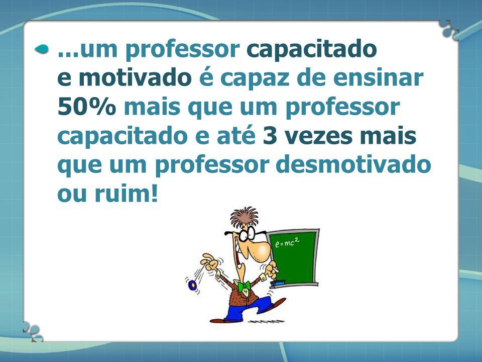 ...um professor capacitado e motivado é capaz de ensinar 50% mais que um professor capacitado e até 3 vezes mais que um professor desmotivado ou ruim!