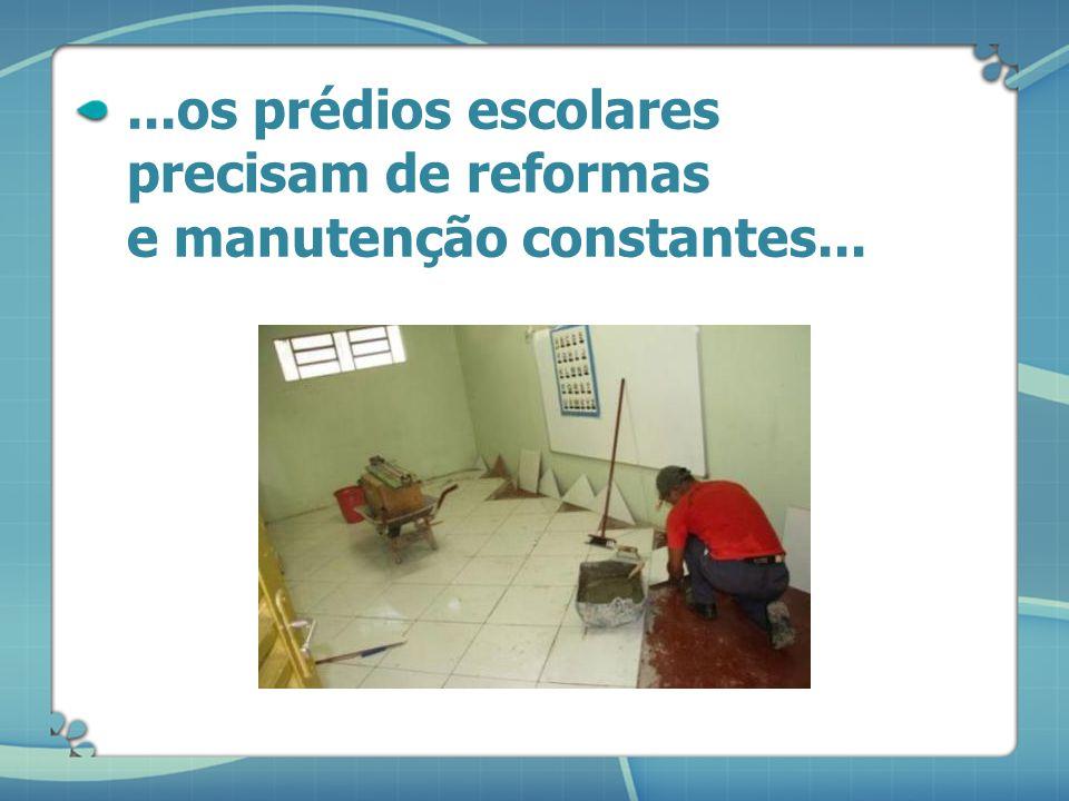 ...os prédios escolares precisam de reformas e manutenção constantes...
