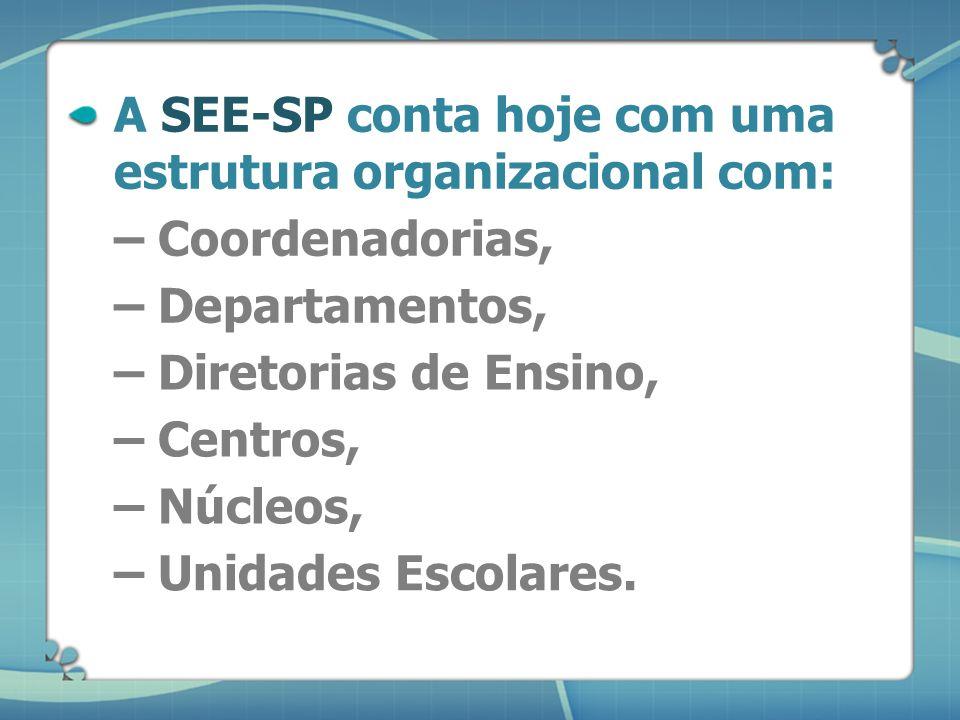 A SEE-SP conta hoje com uma estrutura organizacional com: