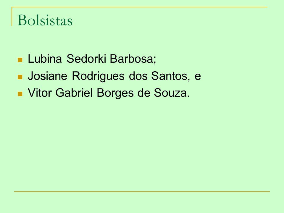 Bolsistas Lubina Sedorki Barbosa; Josiane Rodrigues dos Santos, e