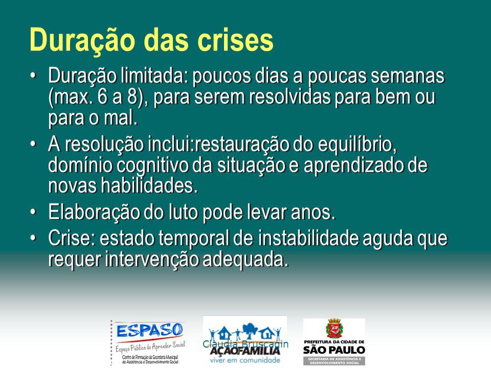 Duração das crises Duração limitada: poucos dias a poucas semanas (max. 6 a 8), para serem resolvidas para bem ou para o mal.