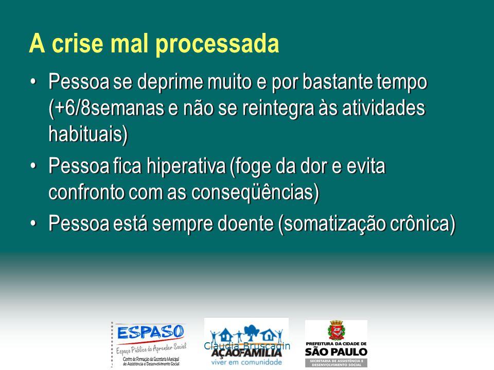 A crise mal processada Pessoa se deprime muito e por bastante tempo (+6/8semanas e não se reintegra às atividades habituais)