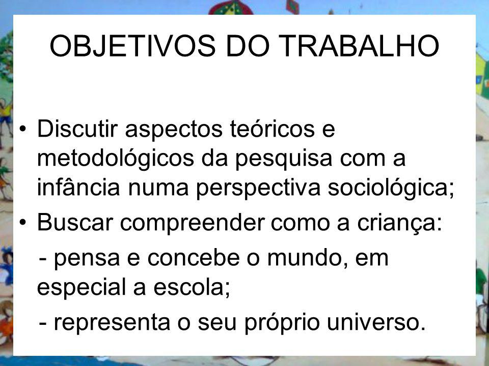 OBJETIVOS DO TRABALHO Discutir aspectos teóricos e metodológicos da pesquisa com a infância numa perspectiva sociológica;
