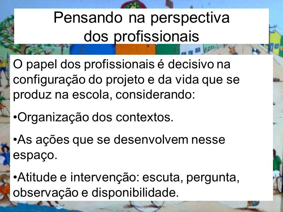 Pensando na perspectiva dos profissionais