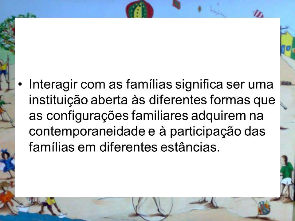 Interagir com as famílias significa ser uma instituição aberta às diferentes formas que as configurações familiares adquirem na contemporaneidade e à participação das famílias em diferentes estâncias.