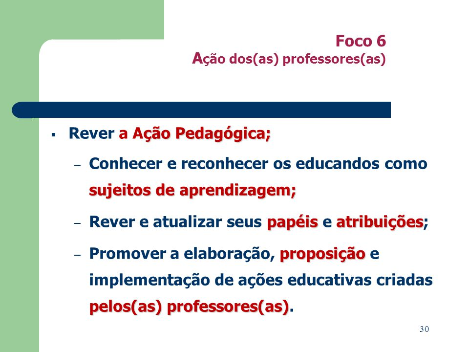 Foco 6 Ação dos(as) professores(as)