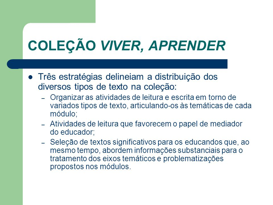 COLEÇÃO VIVER, APRENDER