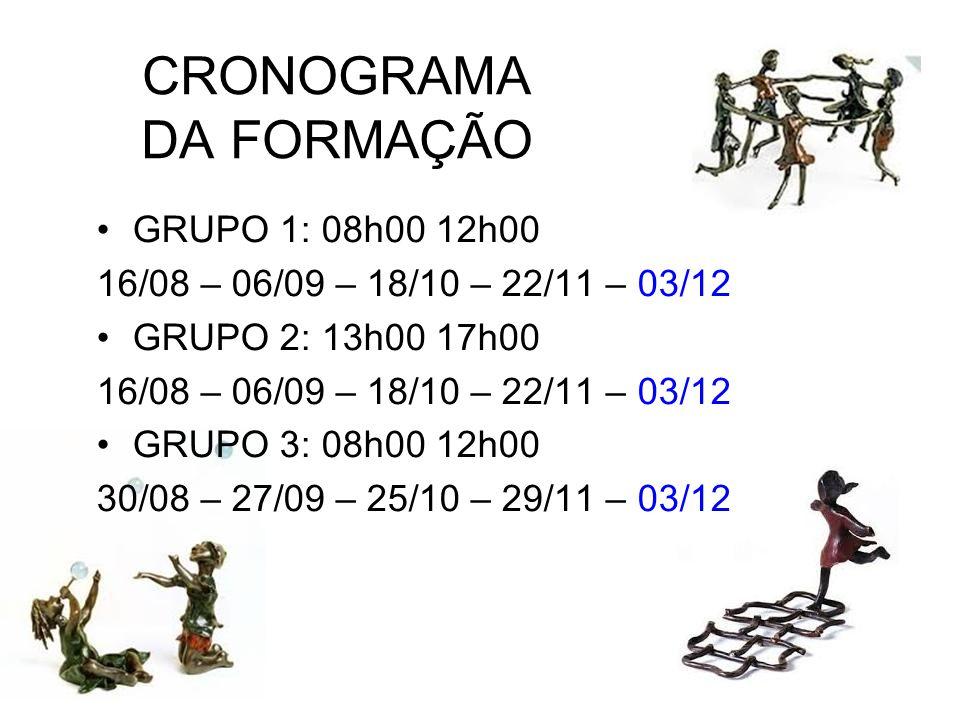CRONOGRAMA DA FORMAÇÃO