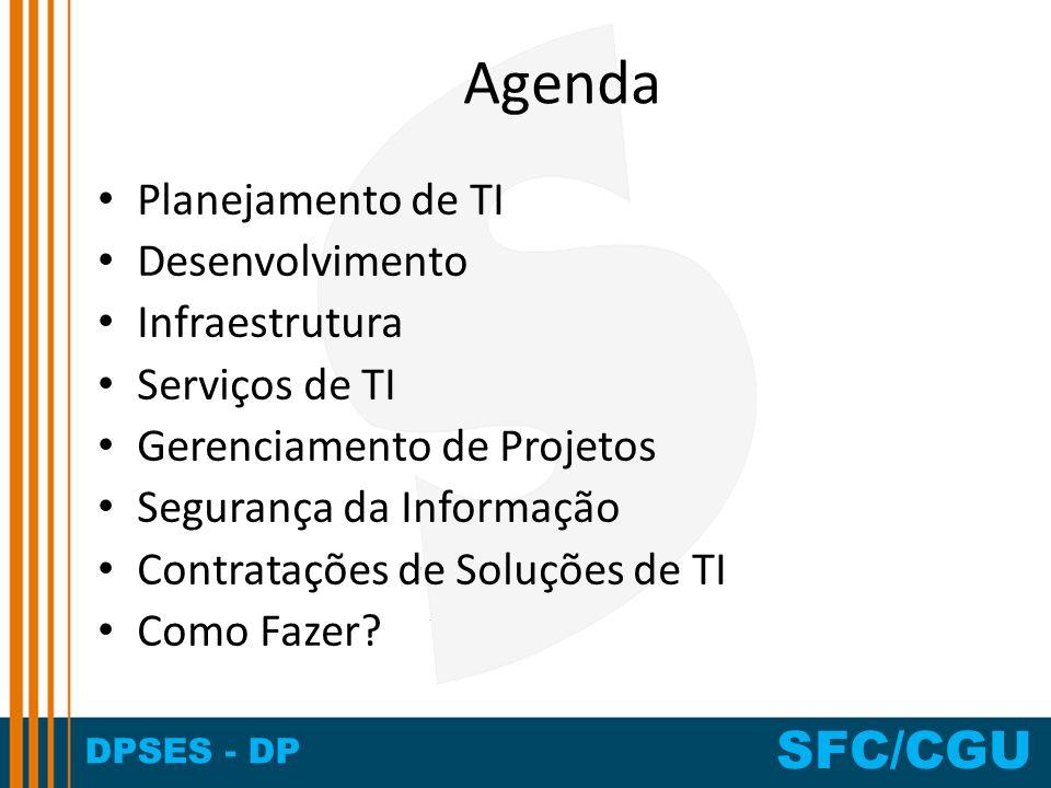 Agenda Planejamento de TI Desenvolvimento Infraestrutura