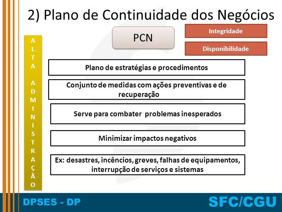 2) Plano de Continuidade dos Negócios