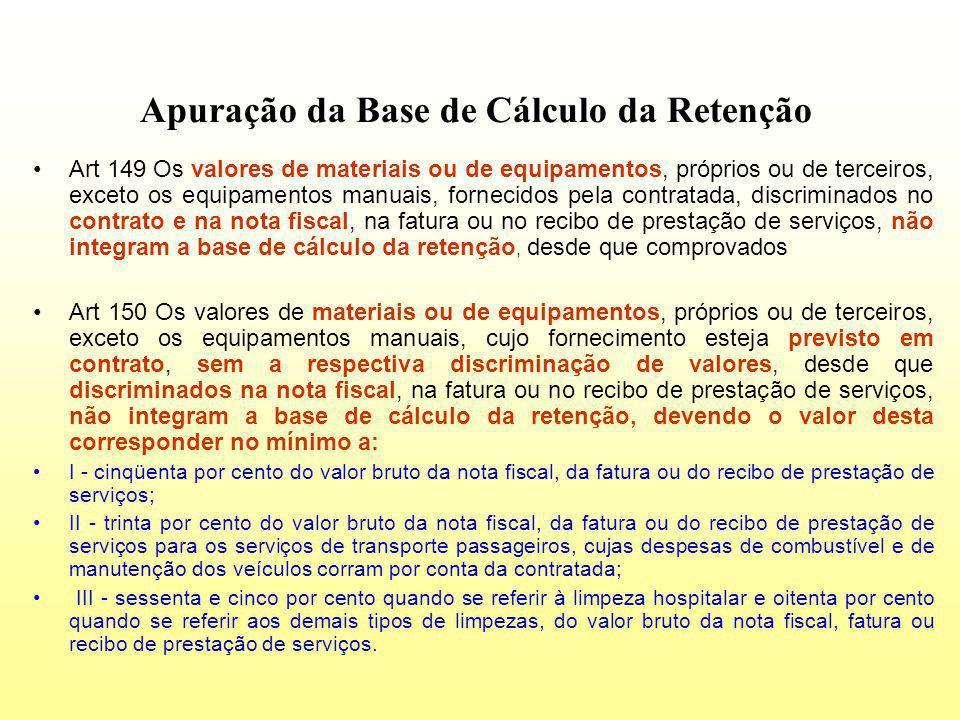 Apuração da Base de Cálculo da Retenção