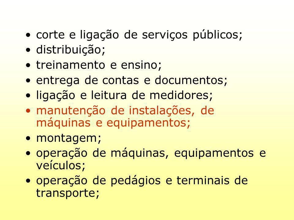 corte e ligação de serviços públicos;