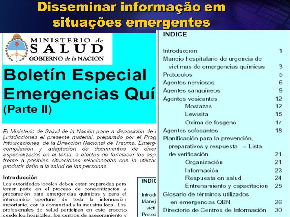 Disseminar informação em situações emergentes