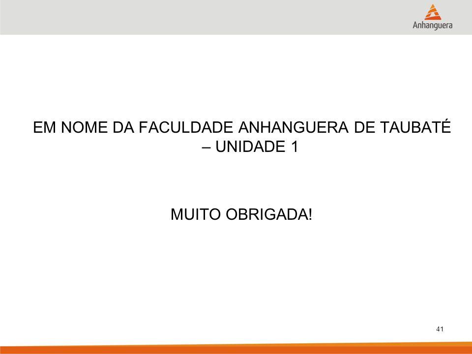 EM NOME DA FACULDADE ANHANGUERA DE TAUBATÉ – UNIDADE 1 MUITO OBRIGADA!