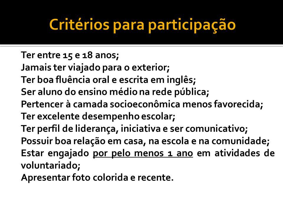 Critérios para participação
