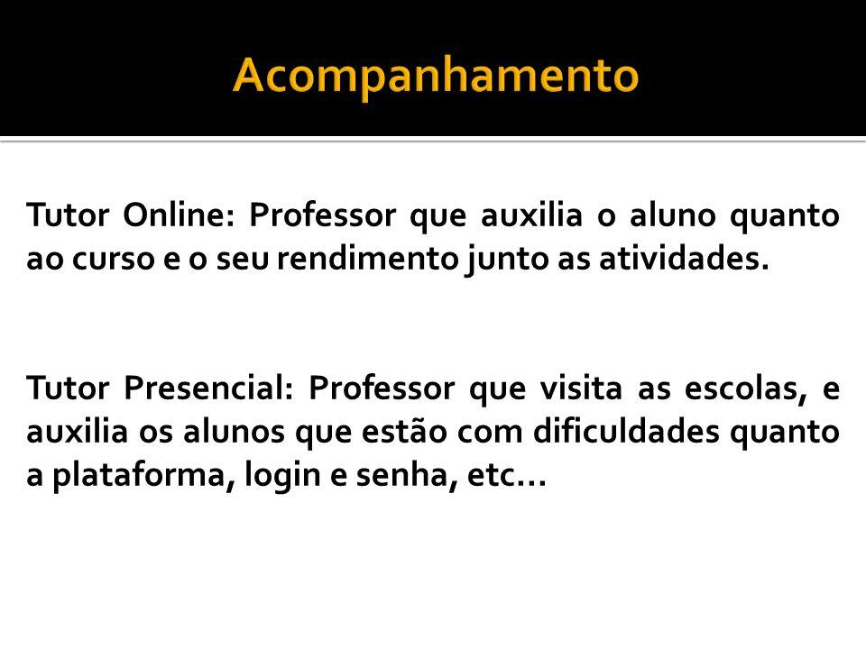 Acompanhamento Tutor Online: Professor que auxilia o aluno quanto ao curso e o seu rendimento junto as atividades.