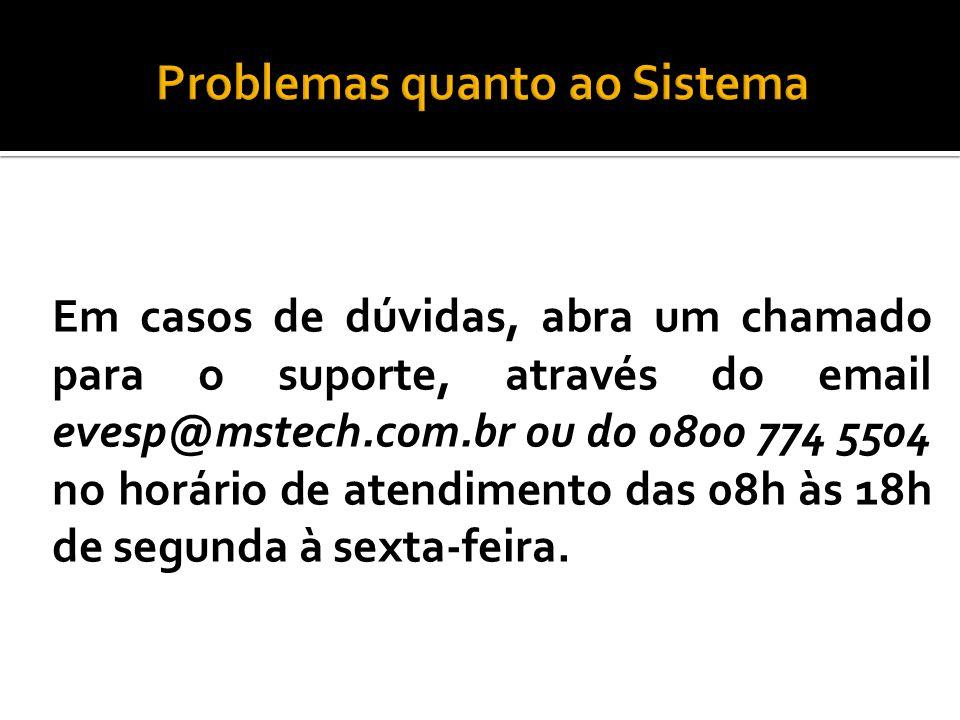 Problemas quanto ao Sistema