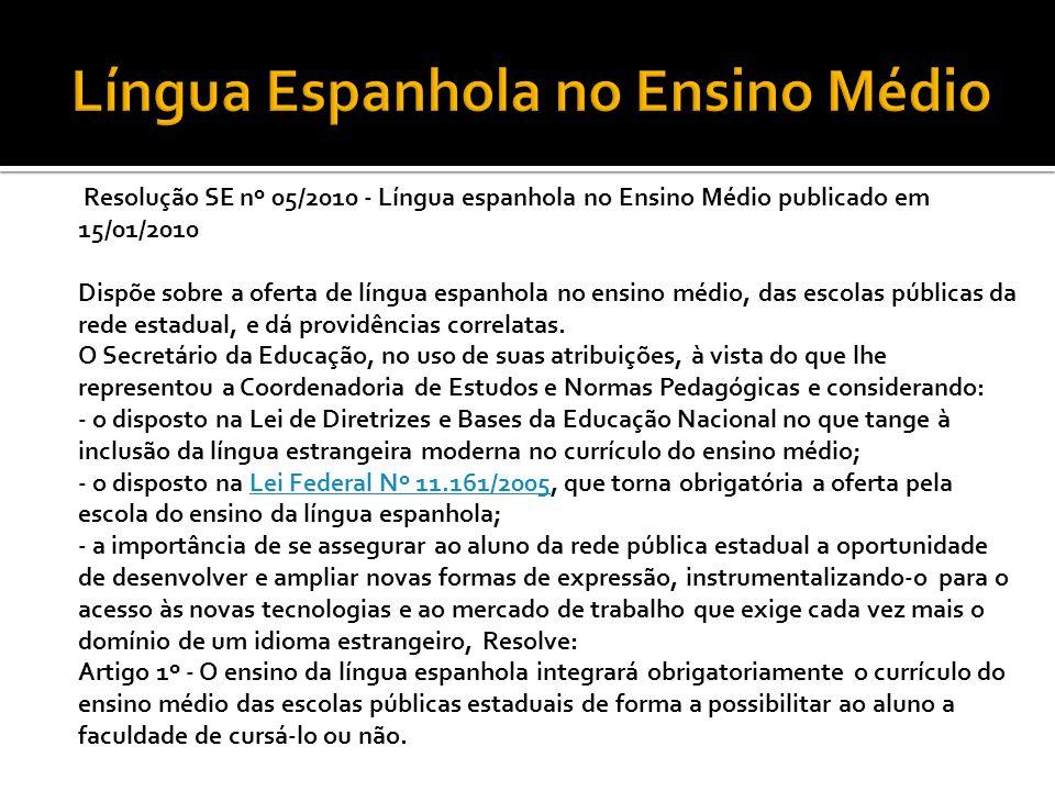 Língua Espanhola no Ensino Médio