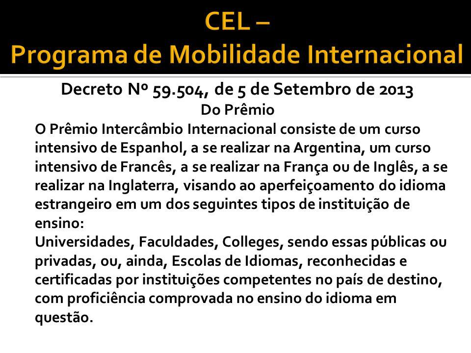 CEL – Programa de Mobilidade Internacional