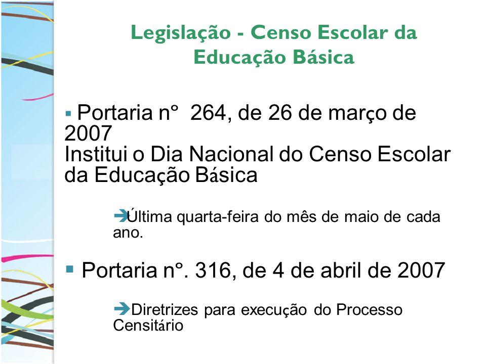 Legislação - Censo Escolar da Educação Básica