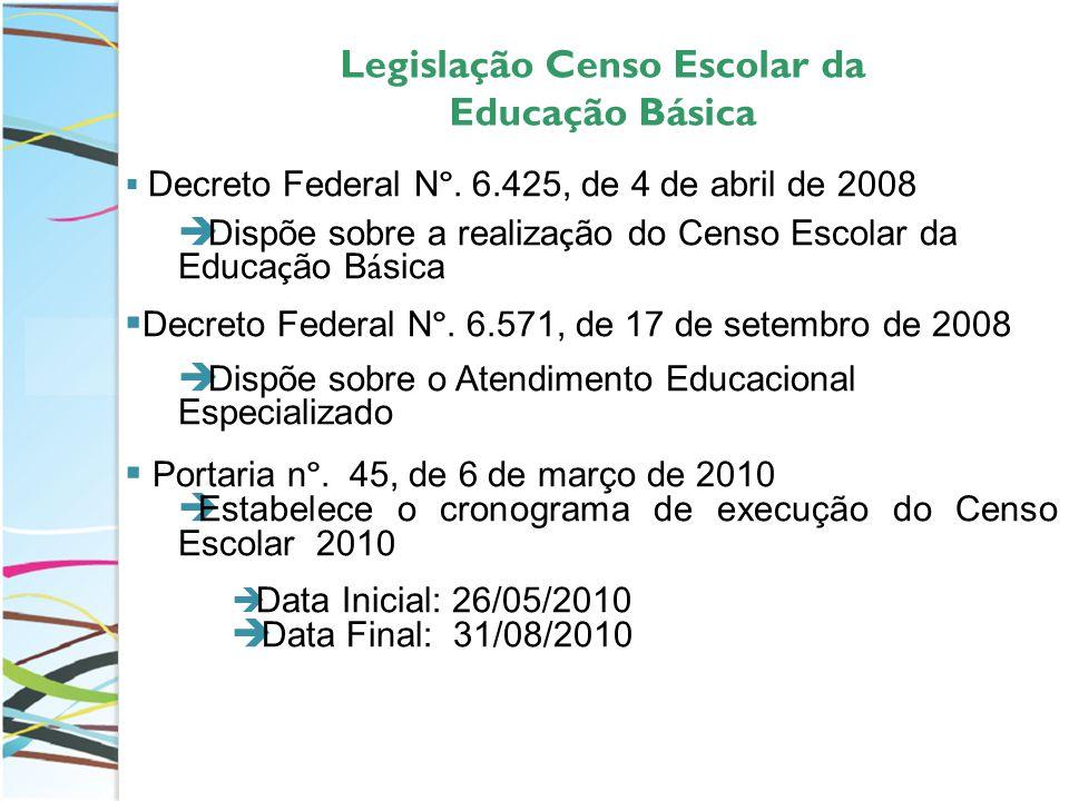 Legislação Censo Escolar da Educação Básica