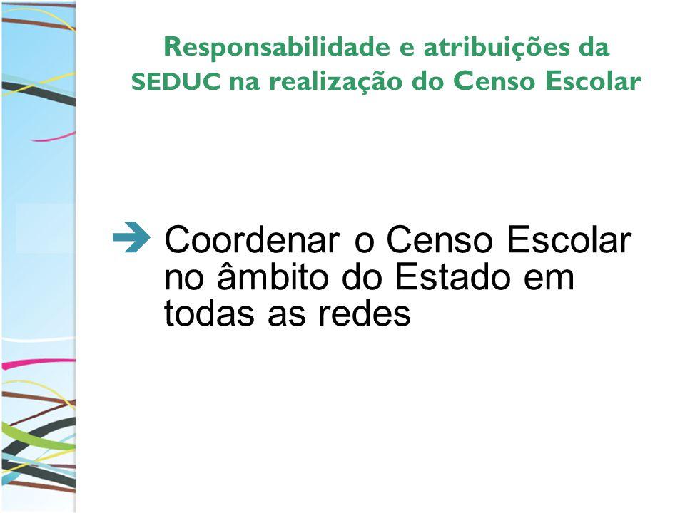Responsabilidade e atribuições da SEDUC na realização do Censo Escolar
