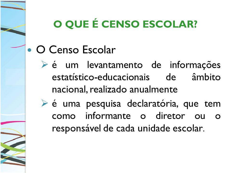 O Censo Escolar O QUE É CENSO ESCOLAR