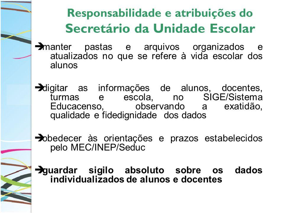 Responsabilidade e atribuições do Secretário da Unidade Escolar