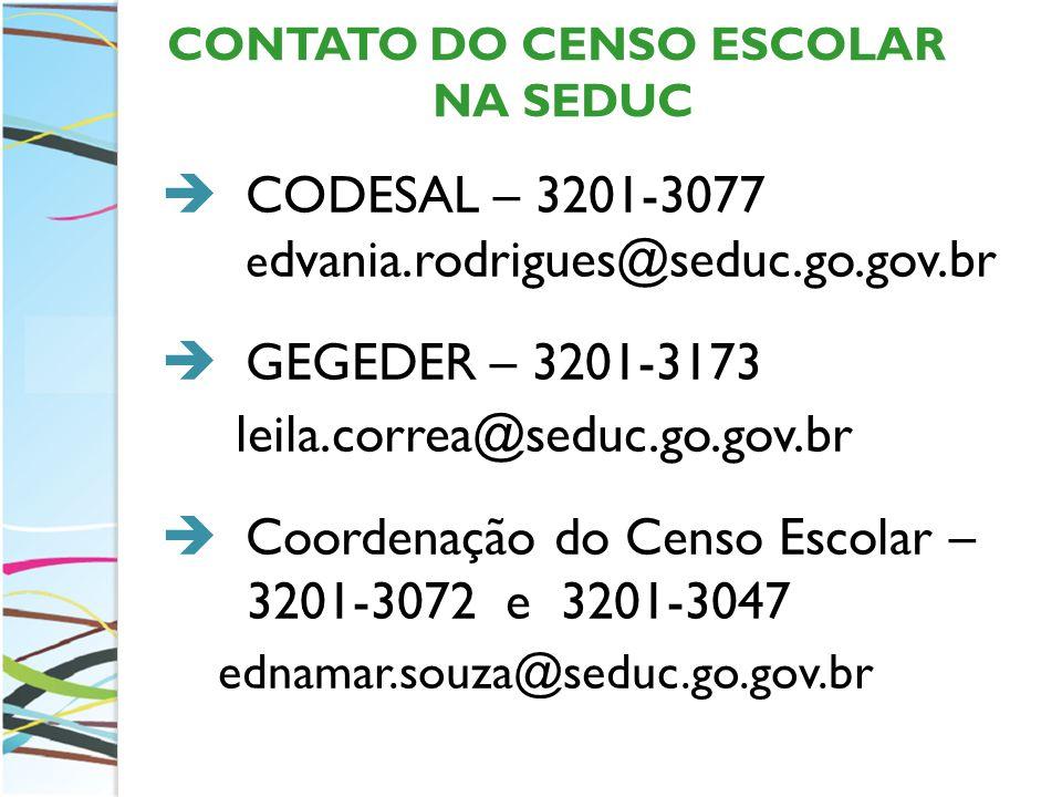 CONTATO DO CENSO ESCOLAR NA SEDUC