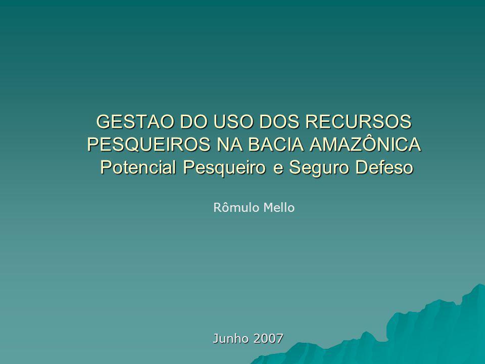 GESTAO DO USO DOS RECURSOS PESQUEIROS NA BACIA AMAZÔNICA Potencial Pesqueiro e Seguro Defeso