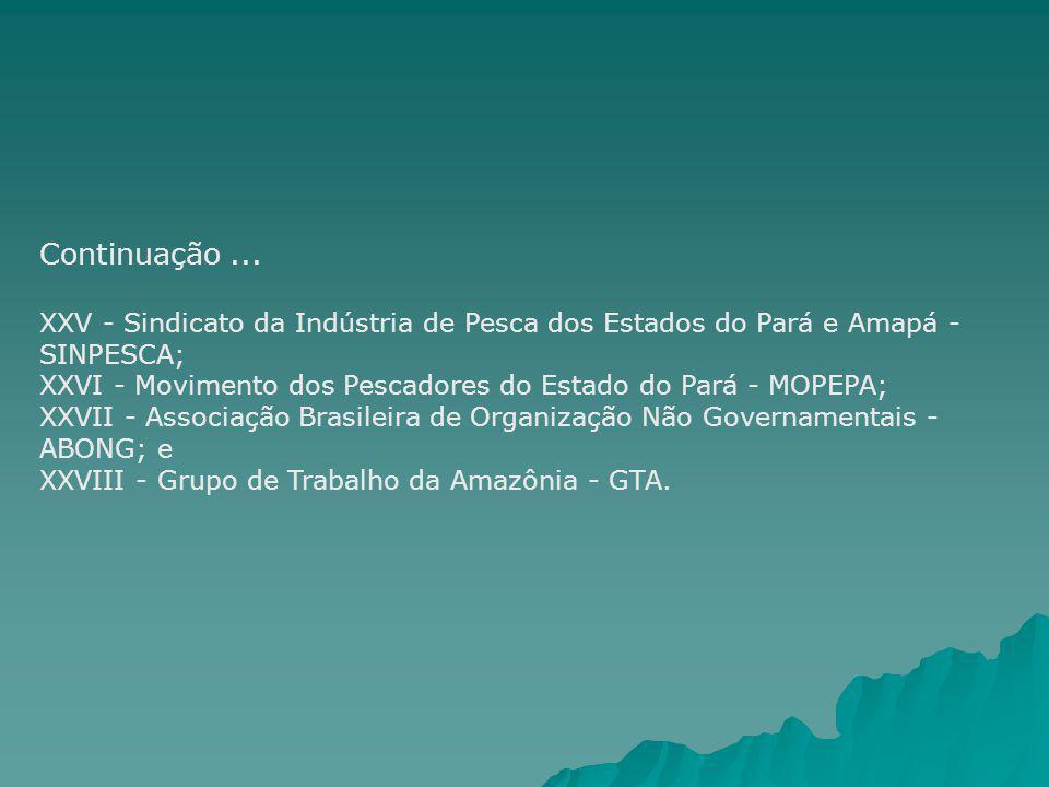 Continuação ... XXV - Sindicato da Indústria de Pesca dos Estados do Pará e Amapá - SINPESCA;