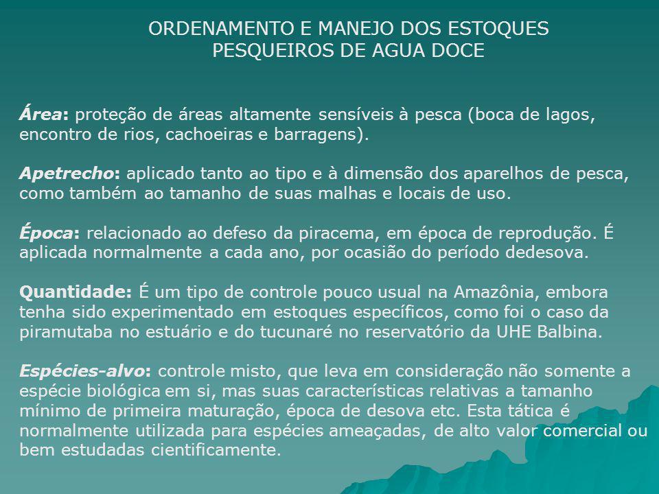 ORDENAMENTO E MANEJO DOS ESTOQUES PESQUEIROS DE AGUA DOCE