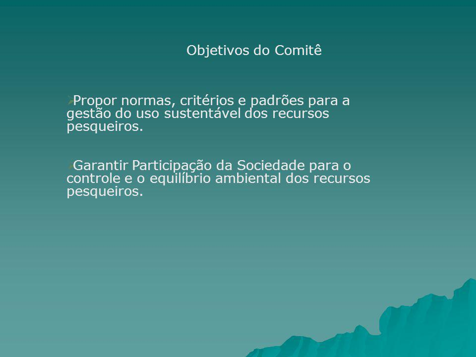 Objetivos do Comitê Propor normas, critérios e padrões para a gestão do uso sustentável dos recursos pesqueiros.
